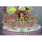 Baby Shower Gold Plated Rhinestone Letter Cake Top Decoration
