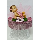 "Baby Shower Baby Girl With Baby Bottle Cake Topper Centerpiece Decoration 4"" W"