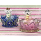 Prince or Princess Bear Candle on Crown 1st Birthday Favor Decoration Cake Top