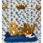 Blue and Gold Baby Shower Sleeping Prince Cake Topper Centerpiece Keepsake