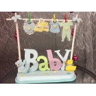 Baby Shower Baby Boy Clothesline Theme Centerpiece Cake Topper Decoration
