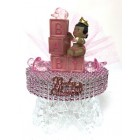 Ethnic Baby Girl with Baby Blocks Cake Topper Centerpiece Keepsake