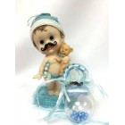 Baby Shower Large Mustache Baby & Teddy Bear with Pacifier Cake Topper Centerpiece Favor