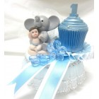 Baby with Elephant Cupcake Baby Shower Cake Topper Decoration