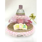 Baby Shower Glass Baby Girl Bottle Centerpiece or Keepsake