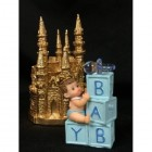 Baby Boy Prince on Blocks w/ Gold Castle Centerpiece