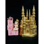 Baby Girl Princess on Blocks with Gold Castle Centerpiece