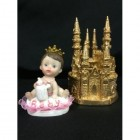 Baby Girl Princess on Base with Gold Castle Centerpiece