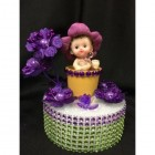 Baby in Flower Tulip Pot Cake Topper