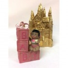 Ethnic Baby Girl Princess on Blocks with Gold Castle Centerpiece
