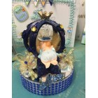 Baby Shower Blue Boy Prince Carriage Cake Top Centerpiece