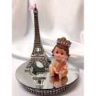 Baby Princess With Eiffel Tower Paris Theme Cake Topper