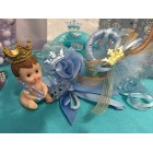 Baby Rattle Baby Boy Prince Corsage with Baby Figurine