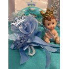 Baby Shower Boy Prince Corsage with Prince Figurine Cake Top Keepsake Gift