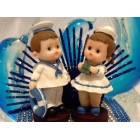 Baby Shower or Birthday Sailor Twins Figurines Cake Topper Keepsake Gift