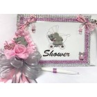Baby Shower Elephant Guest Book & Corsage Baby Shower Baby Girl Keepsake Gift