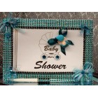Zebra Print Baby Shower Signature Guest Book Teal and Black Keepsake Gift