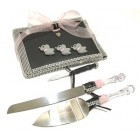 Elephant Baby Shower Guest Book Cake Knife Server Set Baby Girl Gift
