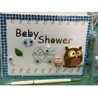 Baby Shower Owl Signature Guest Book Teal Keepsake Gift