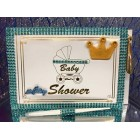 Baby Shower Guest Book Royal Prince Crown It's a Boy Blue Keepsake