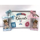 Baby Shower Prince and Princess Twins Guests Book with Princess and Prince Figurine
