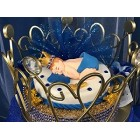 Baby Shower Prince Gold Crown Cake Topper Centerpiece Keepsake Gift Decoration