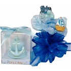 Nautical Sailor Theme Blue Baby Shower Corsage and Candle Keepsake