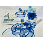Nautical Sailor Theme Blue Baby Shower Guest Book, Corsage, Cake Knife Set Keepsake