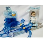 Nautical Sailor Theme Blue Baby Shower Corsage, Figurine, and Cake Knife Set Keepsake