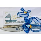 Nautical Sailor Theme Blue Baby Shower Guest Book and Cake Knife Set Keepsake