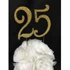 Gold Number 25 Rhinestone Cake Topper