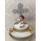 Christening Baby with Cross Cake Topper Decoration Keepsake