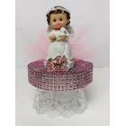 """Happy Christening-Baptism Angel Girl With Sheep Cake Topper Centerpiece Decoration 6.5"""" H"""