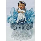 """Happy Christening-Baptism Angel Boy With Sheep Cake Topper Centerpiece Decoration 6.5"""" H"""