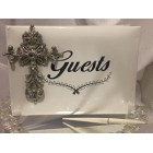 Silver Cross Guest Book for Christening or 1st Communion Keepsake