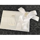 First Communion Girls Religious Signature Satin Guest Book White Bow