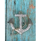 Rhinestone Sailor Anchor Nautical Charm for Cake Tops Corsage Favor Scrap Booking