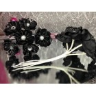 2 Black Silk Flower Bunches 6 Flowers Per Bunch 12 Flowers Weddings Sweet 16 or Bridal Shower