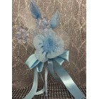 Light Blue Organza Corsage Flower with Acrylic Flowers