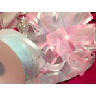 Large Pink and Blue Satin Sheer Bow for Wedding Pews Tables Flower Girl Baskets and Other Projects