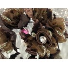 Brown Organza Glitter Flower Bunch 6 Flower Bunches 72 Flowers