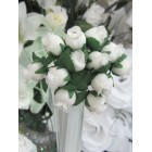 2 Mini Bunches WHITE Flowers Poly Dry Antique Style Roses