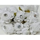 Rhinstone Fabric White Flowers Bunch Craft Project DIY Flowers Favors Craft Supplies 6 Stems of 6 Flowers Each 72 Ct