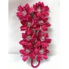 Satin Flowers with Clear Pearls on Stem Fuchsia