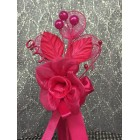 Fuchsia Rose Organza Flower with Three Pearls