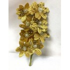 Satin Flowers with Clear Pearls on Stem Gold