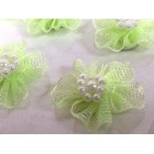 12 Apple Green Organza Glittered Flowers with Pearls