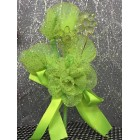 Lime Green Organza Flower with Acrylic Flowers
