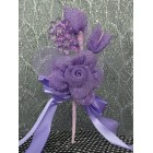 Lavender Organza Flower Corsage with Acrylic Flowers