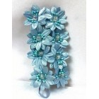 Satin Flowers with Clear Pearls on Stem Light Blue
